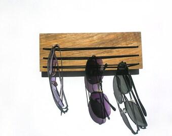 small wooden sunglasses organizer