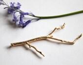 Statement Gold Branch bobby pin, hairclip - woodland nature inspired hairclip, spring wedding hair accessory