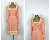 60s Peach and Cream Sheath Dress • 1960s Long Sleeve Cotton Day Dress • Medium • Large
