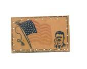 vintage collectible postcard, Teddy Roosevelt leather postcard, flag, president, 1906