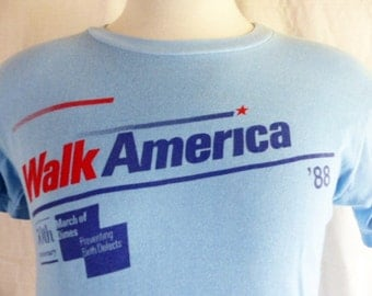 vintage 80's Walk America '88 March of Dimes 50th Anniversary pastel light blue graphic t-shirt red navy blue back front logo print medium