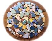 115 Pieces,Pastel Green /Pastel Blue/Dark Blue/Pink / Yellow Beach Pottery,  Sea PotteryShards, Pendant Supplies, Mosaic Craft,
