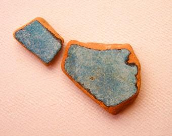 Matching Sea Pottery, Painted Terracotta Beach Pottery,Greenish Blue Pendant/Ring Sized Beach Pottery,Jewelry/Mosaic/Mixed Media Supplies