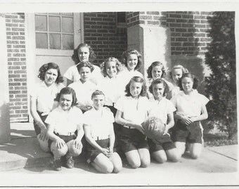 Old Photo Teen Girls Basketball Team 1940s Photograph snapshot vintage