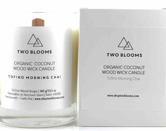 Tofino Chai Organic coconut wax cotton wick Candles 12 oz, Natural Candle Victoria, BC Vancouver Island Canada