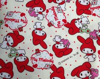 Cute Sanrio My Melody -  Japanese Fabric Half Yard White