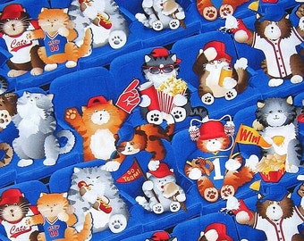 Fat Quarter Cats Sports Fans 100% Cotton Quilting Fabric
