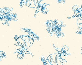 Fat Quarter Little House On The Prairie 100% Cotton Quilting Fabric Blue 7924