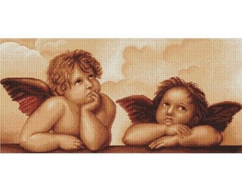 Cherubs Cupid Love Counted Cross Stitch Kit - Luca 18 Count Large
