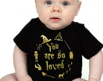 Glitter Gold You Are So Loved Baby Bodysuit / Harry Potter Inspired Baby Onesie / Harry Potter Baby Clothes / Harry Potter Baby Shower Gift