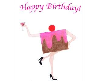 Birthday Card - Dancing Cake - Fun Birthday Card
