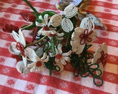 Vintage french beaded floral bouquet  red white