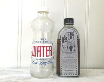 VINTAGE Barber Shop Bottles - Barber Stand Pole - Vintage Water Shampoo Soap - Beauty Shop - Dif Liquid Castile - Lan Lay - Red White Blue
