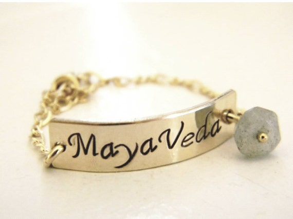 Gold Baby Bracelet, Infant, Child, 14kt Gold Fill, Personalized Name Bracelet, Custom Made, Hand Stamped, Name, ID Bracelet, Keepsake, Pearl