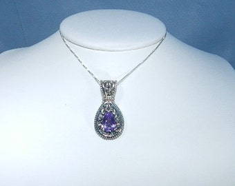 Estate Jewelry Sterling Silver Amethyst Gemstone Necklace - Stunning Pendent with Silver Chain