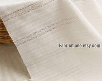 jacquard Cotton Fabric/ Off White Jacquard Stripes Cotton/ Summer Dress Clothing Fabric- 1/2 Yard
