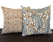 Pillow Pair, Throw Pillow, Pillow Cover, Cushion, Decorative Pillow, Caramel Brown Cream Gray traditional contemporary modern decor
