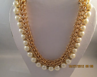 Gold Tone Chain Choker Necklace with White Pearl Beads  and Clear Rhinestone Spacers