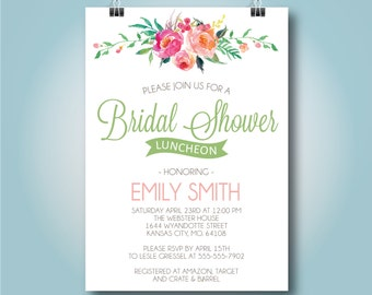 "Pink Floral Bridal Shower Luncheon Invitation, Bridal Brunch Invite, Watercolor Wedding Shower, ""Emily Design"" 5x7"