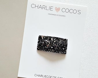 Black Glitter Snap Hair Clip // Baby Girl Glitter Snap Hair Clip by charlie coco's