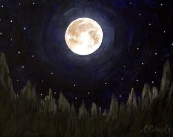 The Moon Fine Art Night Landscape Print, Full Moon Print, Night Sky, Starry Night