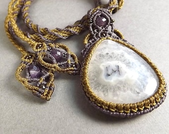 Kumihimo Necklace, Macrame Pendant, Solar Quartz and Amethyst in Purple and Bronze Thread
