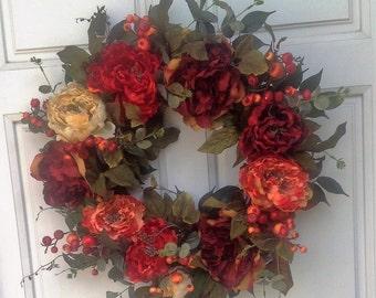 Fall Red orange gold peony bright berry euculyptus full wreath