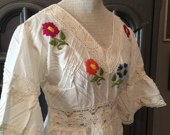 Vintage 60s Mexican Embroidered Peasant Wedding Dress