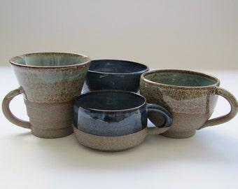 Ceramic cups, ceramic mugs, pottery mugs, set of four ceramic mugs, coffee mugs,gift ideas