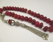 Ruby Carved Islamic Prayer Beads 42.53 Gr Dark Red Color Handmade #244