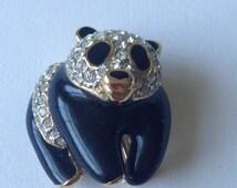 Vintage Panda Brooch / Black Enamel Clear Pave Glass  Rhinestones/ So 80-s