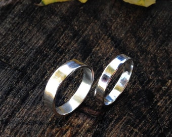 Modern Sterling Silver Band. 4mm or 5mm Sterling Silver Ring. Unisex - Flat Band. Sizes 4.5-14