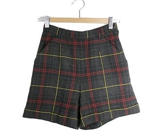 90s  PLAID tartan SHORTS highwaisted small  fr36
