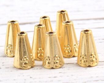 Matte Gold Cone Bead Caps, Cone Tassel Caps, 8 pcs // GF-117