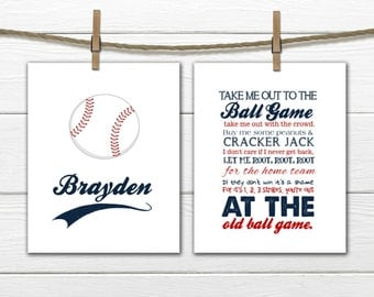 Baseball Nursery - 2 Piece Set - Baseball Decor - Take me out to the Ball Game
