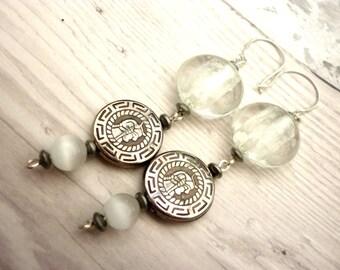 white drop earrings, white dangle earrings, white and silver earrings, long white earrings, sterling silver ear wires, shipped from the UK