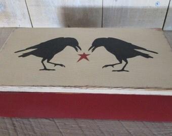 Handmade Small Box - Primitive Crows, Eye Glasses Case, Checkbook Case