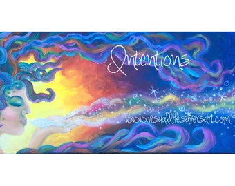 Intentions - rainbow woman, rainbow hair