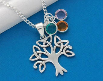 Family Tree Necklace . Sterling Silver tree of life Necklace with Three charm included. Family Tree Initial necklace, Unique Grandmother Gif