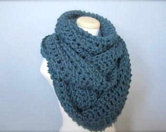 Crochet Extra Wide, Extra Long, Chunky, Teal, Turquoise Cowl Infinity Scarf, Women's Scarf, Men's Scarf, Unisex Scarf, Shawl, Wrap