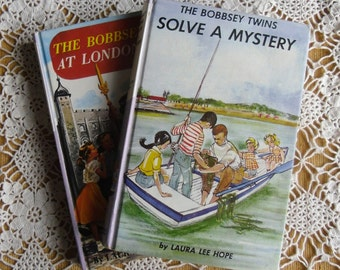 Vintage Children's Books - The Bobbsey Twins, Laura Lee Hope, Solve a Mystery 1934, At London Tower 1959, Grosset & Dunlap