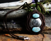 Element Necklace with Larimar and Handcrafted Clay. Moon and Earth Necklace... Clay with Healing Gemstone and Crystal Jewelry.