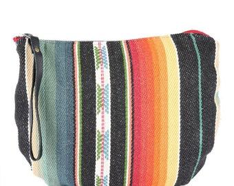 Santa Fe Black Jaya Moon Clutch -Handmade Bohemian Fabric & Leather -Environmentally Conscious- purse/clutch/pouch/hand bag/designer/tote