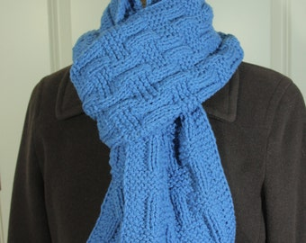 Hand Knit Bright Blue Wool Scarf