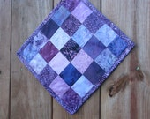 Purple Batik Quilted Snack Mat - Mug Rug - Candle Mat- Hot Pad