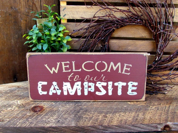 Wooden Camping  Sign, Welcome to Our Campsite, Wood Sign Saying, Camping Decor, Gift for the Camper, Campsite Sign, Wood Camping