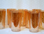 Peach Luster Carnival Glass Tumblers - Jeannette Glass Co. Set of 10 Drink Glasses