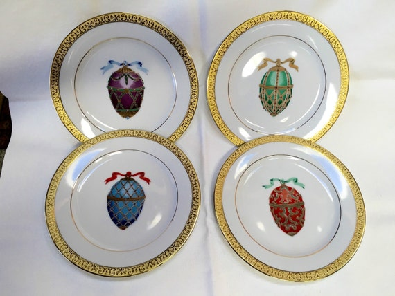 Russian Imperial Egg Plate Decorative Egg Design Plate Four gold trimmed china plates. New with labels from 1991. Underside reads Gold Buffet Royal Gallery ... & Easter Dessert Canape Appetizer Plates   Easter Wikii