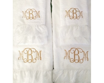 Monogrammed bath towel and hand towel set with ruffle trim on bottom
