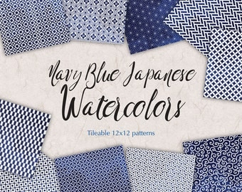Navy Blue Watercolor Patterns Japanese Paper Blue digital paper pack Watercolor Digital Scrapbook Blue wrapping paper watercolor